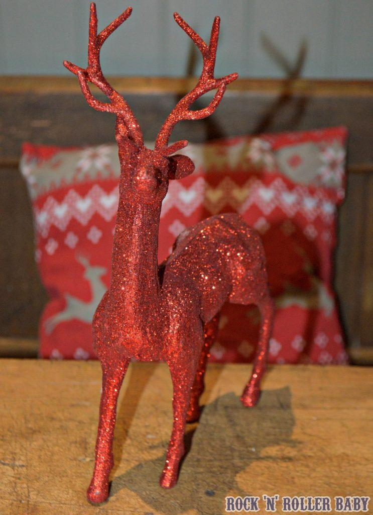 My centre piece glitter red stag and the cushion behind him are both priced at £1 in Poundland!